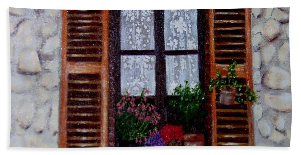 Provence Hand Towel featuring the painting Provence Morning by Laurie Morgan