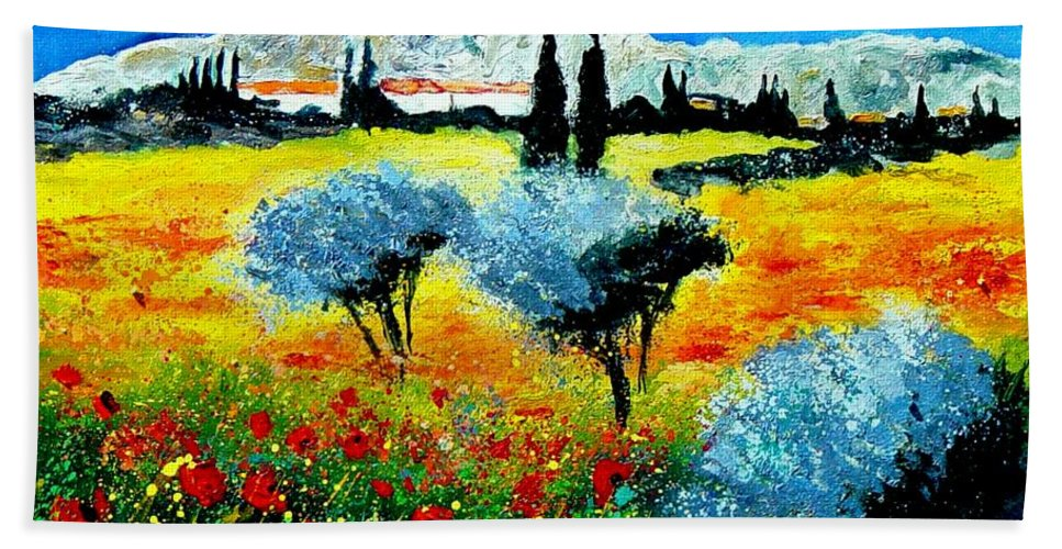 Poppies Bath Towel featuring the painting Provence by Pol Ledent