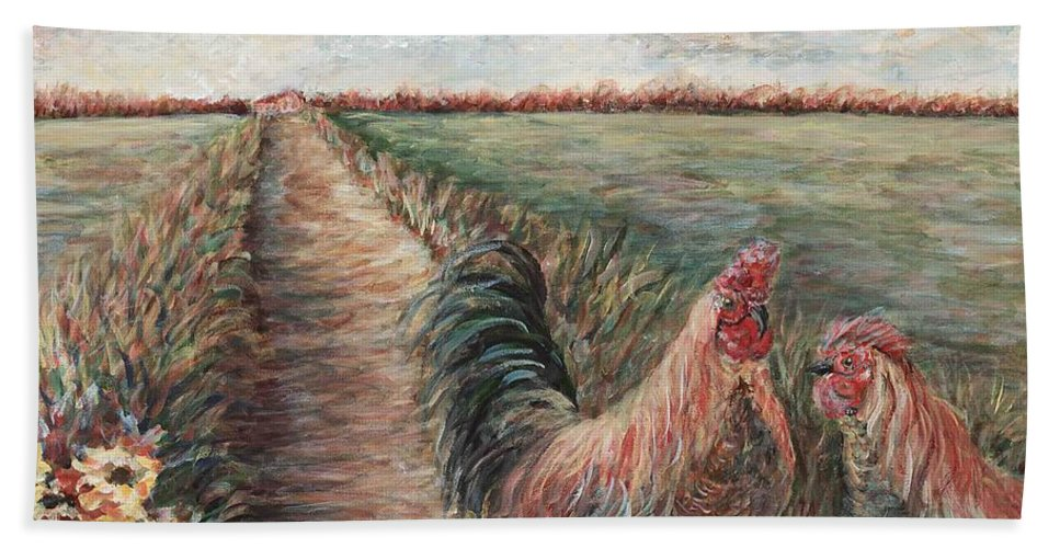 Provence Bath Sheet featuring the painting Provence Roosters by Nadine Rippelmeyer