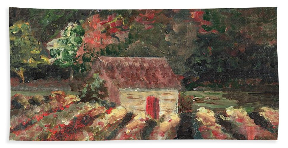 Landscape Bath Sheet featuring the painting Provence Vineyard by Nadine Rippelmeyer