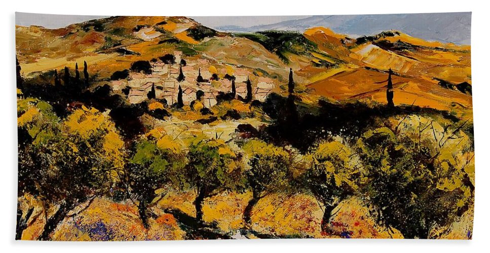Provence Hand Towel featuring the painting Provence10080 by Pol Ledent