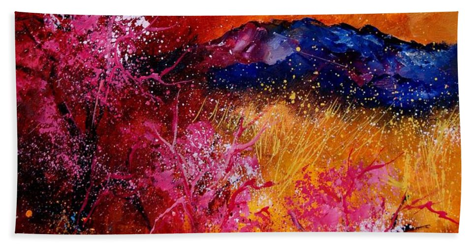 Provence Hand Towel featuring the painting Provence560908 by Pol Ledent