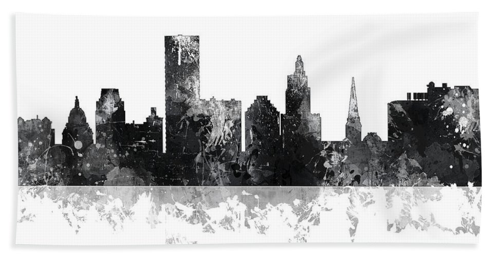 Providence Rhode Island Skyline Bath Sheet featuring the digital art Providence Rhode Island Skyline by Marlene Watson