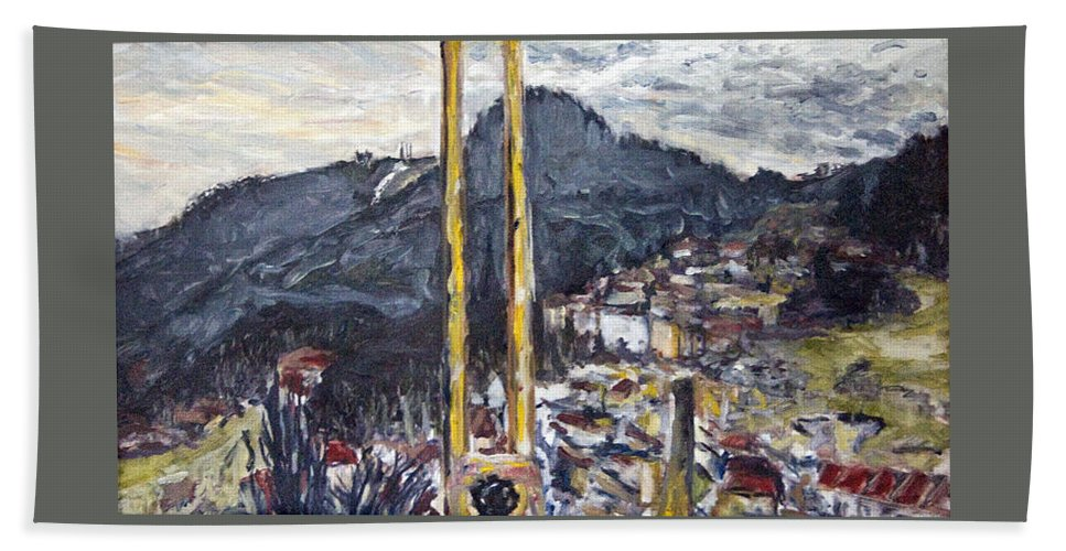 Landscape Hand Towel featuring the painting pruhled zameren na Thuny by Pablo de Choros