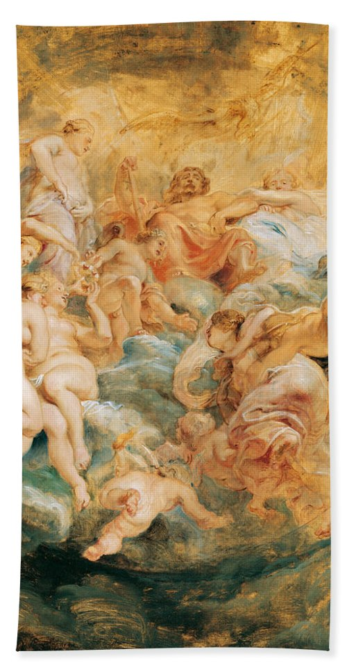 Peter Paul Rubens Hand Towel featuring the painting Psyche Taken Up Into Olympus by Peter Paul Rubens