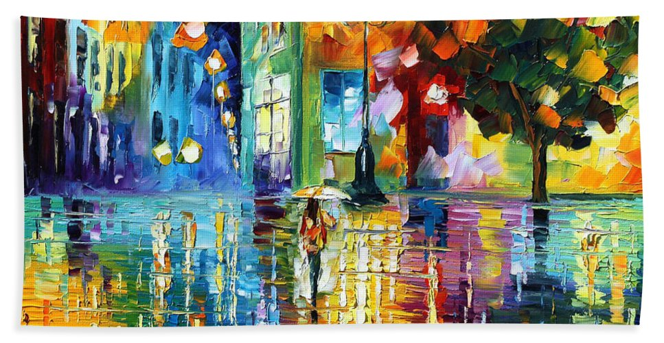City Bath Sheet featuring the painting Psychedelic City by Leonid Afremov