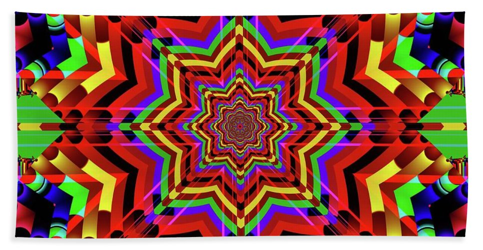 Fractal Art And Design Hand Towel featuring the digital art Psychedelic Construct by Mario Carini