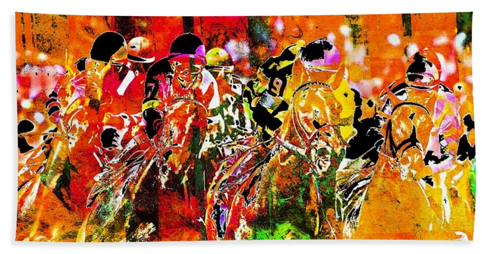 Horse Race Bath Sheet featuring the digital art Psychedelic Derby by Spencer McKain