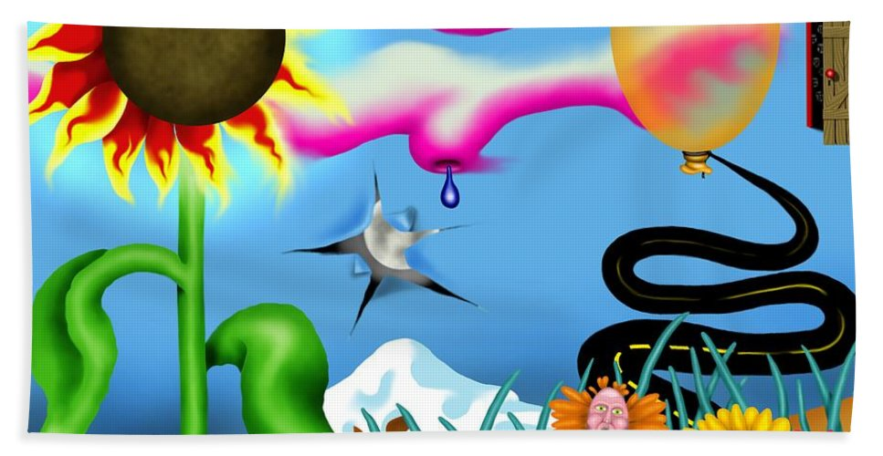 Surrealism Bath Towel featuring the digital art Psychedelic Dreamscape I by Robert Morin