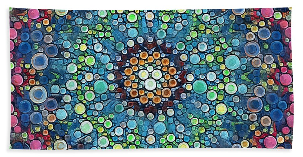 Colorful Hand Towel featuring the digital art Psychedelic Mandala by Mike Butler
