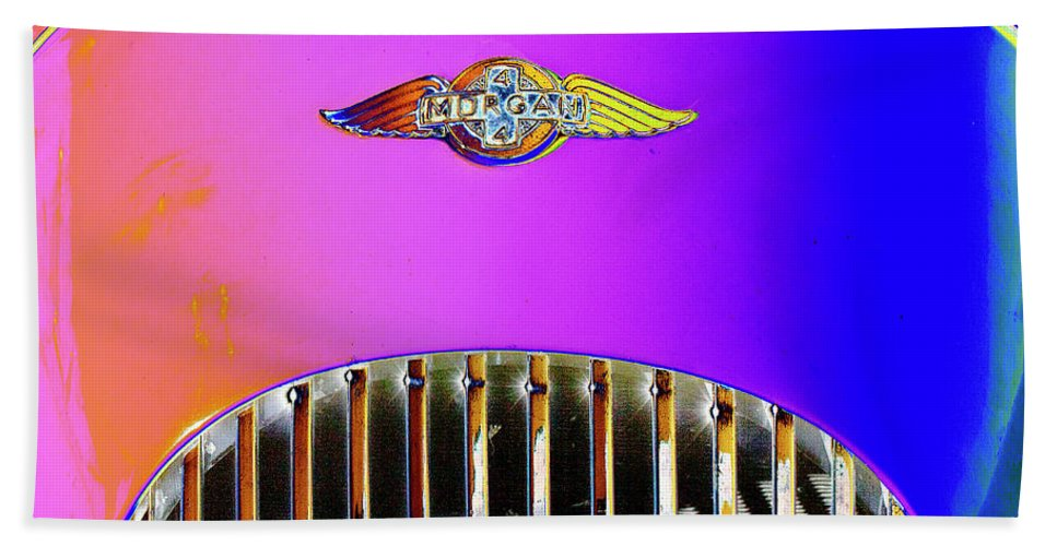 Psychedelic Bath Sheet featuring the photograph Psychedelic Morgan 4/4 Badge And Radiator by Peter Lloyd