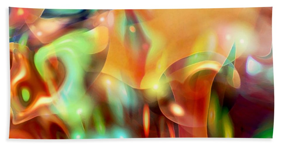 Abstract Art Bath Sheet featuring the digital art Psychedelic Xperiment by Linda Sannuti