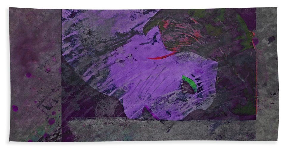 Psycho Bath Sheet featuring the mixed media Psycho Warhol Deep Purple by Charles Stuart