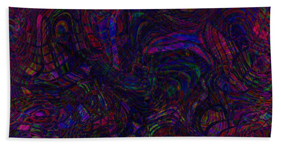 Abstract Hand Towel featuring the digital art Psychotic Scribbles by Diane Parnell