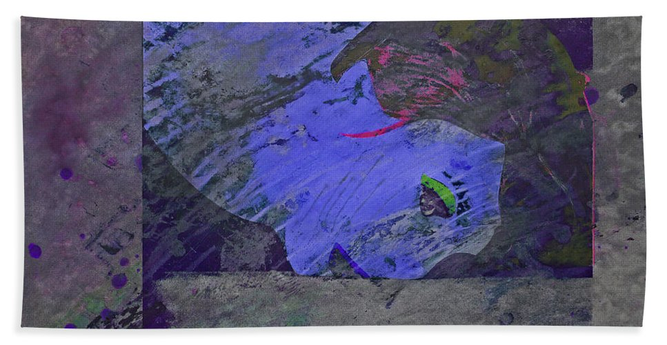 Psycho Bath Sheet featuring the mixed media Psychowarhol Blue by Charles Stuart