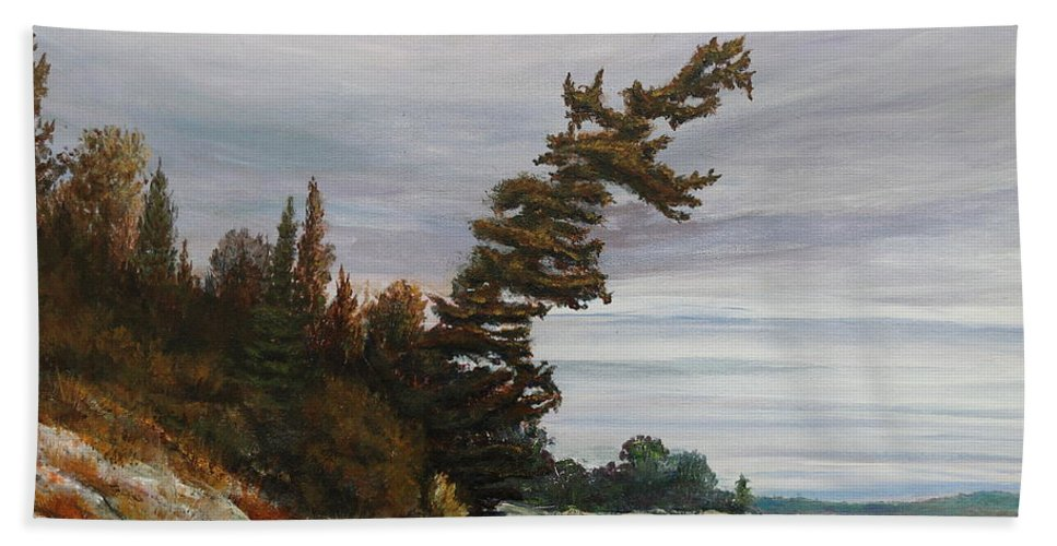 Landscape Hand Towel featuring the painting Ptarmigan Bay by Ruth Kamenev