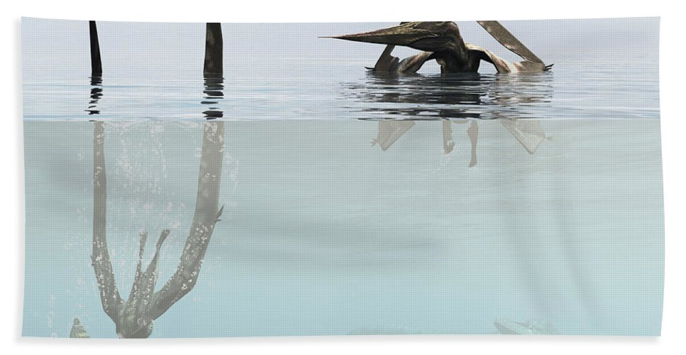 Square Image Bath Sheet featuring the digital art Pteranodon Pterosaur Diving Underwater by Arthur Dorety