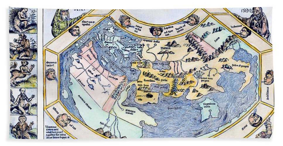 1493 Hand Towel featuring the photograph Ptolemaic World Map, 1493 by Granger
