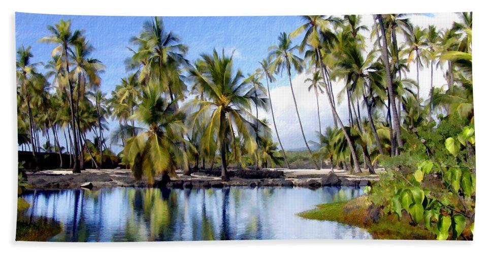 Hawaii Bath Sheet featuring the photograph Pu Uhonua O Honaunau Pond by Kurt Van Wagner