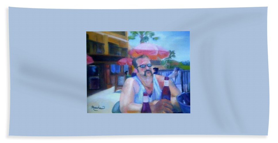 Daytona Hand Towel featuring the painting Pub by Sheila Mashaw