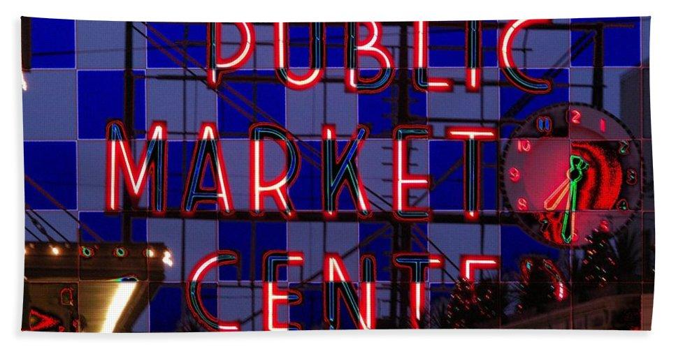 Seattle Hand Towel featuring the digital art Public Market Checkerboard by Tim Allen