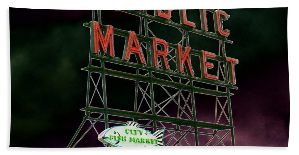 Seattle Hand Towel featuring the photograph Public Market by Tim Allen