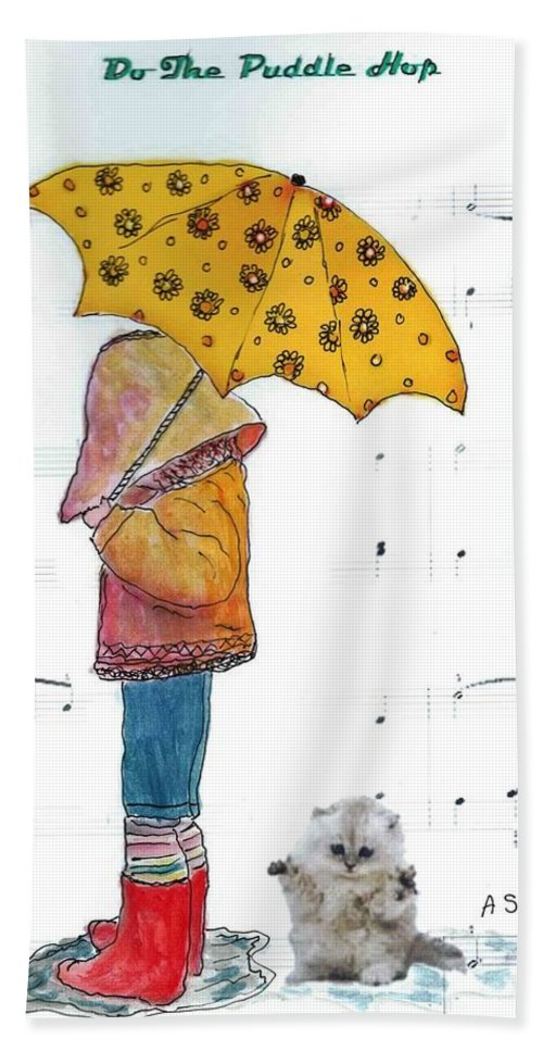 Umbrella Bath Sheet featuring the painting Puddle Hop by Anne Sands