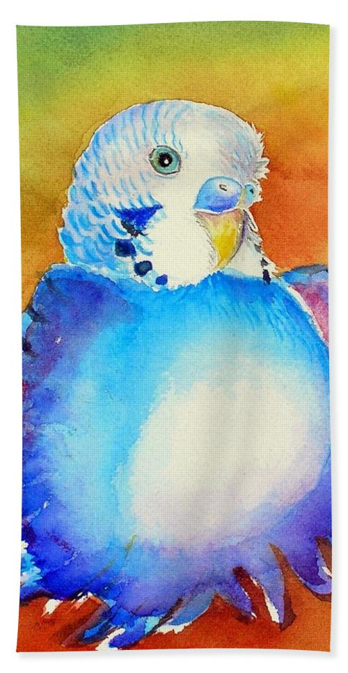 Birds Hand Towel featuring the painting Pudgy Budgie by Patricia Piffath