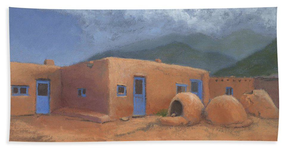 Taos Bath Towel featuring the painting Puertas Azul by Jerry McElroy