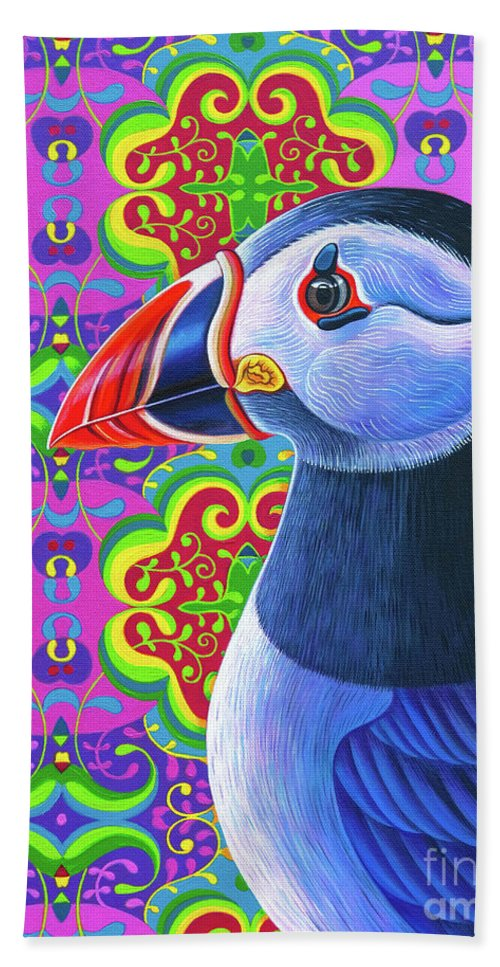 Puffin Bath Towel featuring the painting Puffin, 2018 by Jane Tattersfield