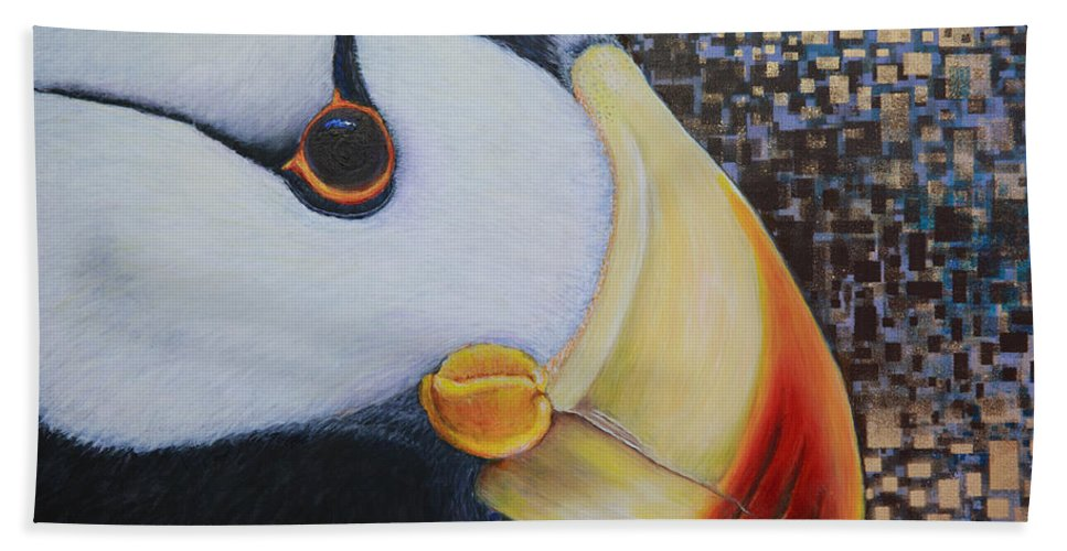 Puffin Bath Sheet featuring the painting Puffin Glam by Dee Carpenter