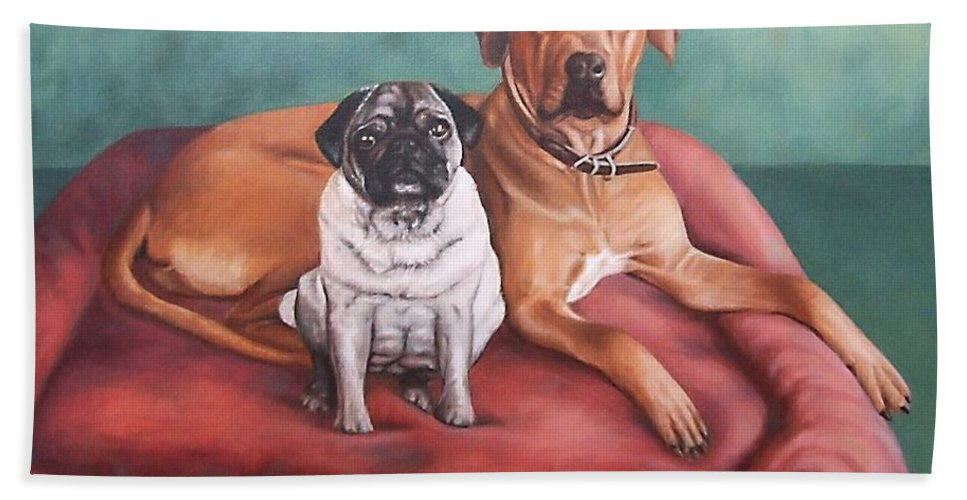 Dogs Hand Towel featuring the painting Pug and Rhodesian Ridgeback by Nicole Zeug