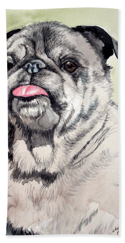 Dog Hand Towel featuring the painting Pug by Christopher Shellhammer