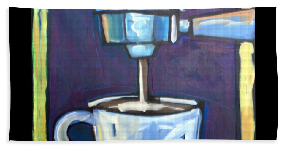 Coffee Hand Towel featuring the painting Pulling A Shot by Tim Nyberg