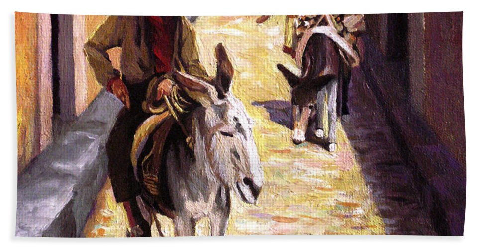 Impressionism Bath Towel featuring the painting Pulling Up The Rear In Mexico by Nancy Griswold