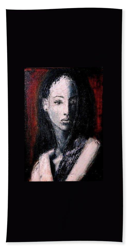 Portrait Art Bath Sheet featuring the painting Pulsar by Jarmo Korhonen aka Jarko