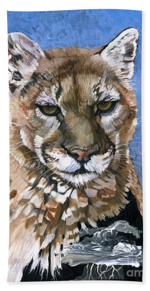 Puma Hand Towel featuring the painting Puma - The Hunter by J W Baker