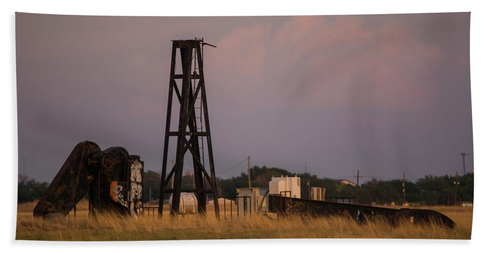 Pump Jack Bath Towel featuring the photograph Pump Jack Golden Hour by Deborah Reinhardt - Adams