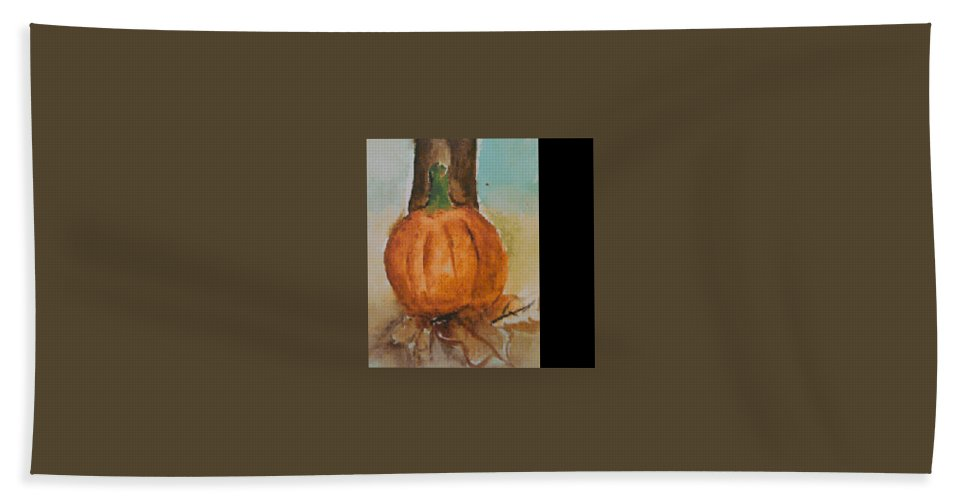 Hand Towel featuring the painting Pumpkin by Bethany Hannigan