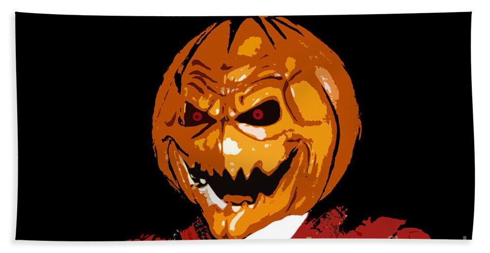 Halloween Bath Sheet featuring the digital art Pumpkin Head by David Lee Thompson