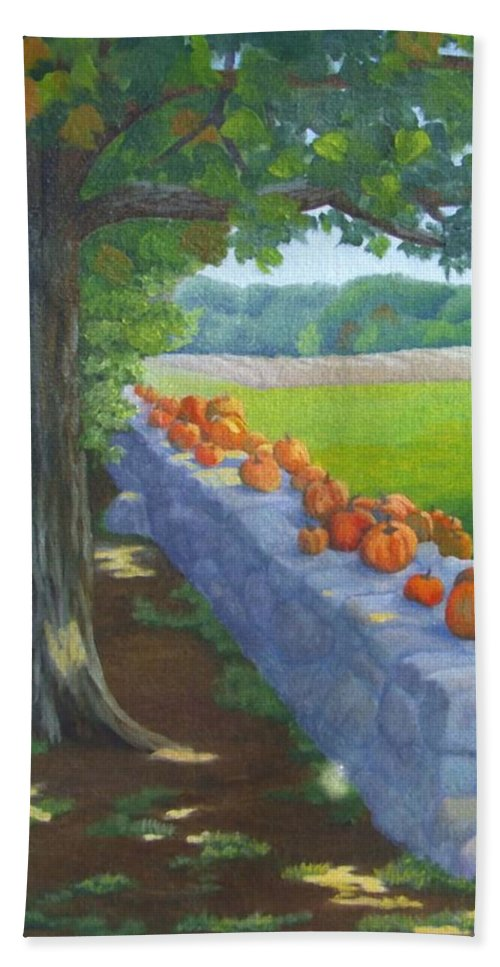 Pumpkins Hand Towel featuring the painting Pumpkin Muster by Sharon E Allen