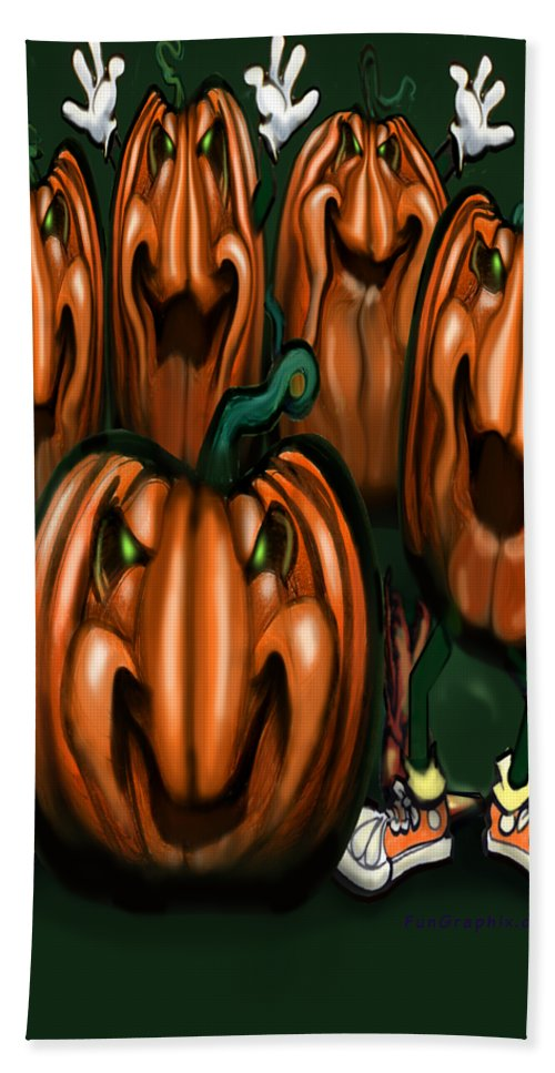 Halloween Hand Towel featuring the painting Pumpkin Party by Kevin Middleton