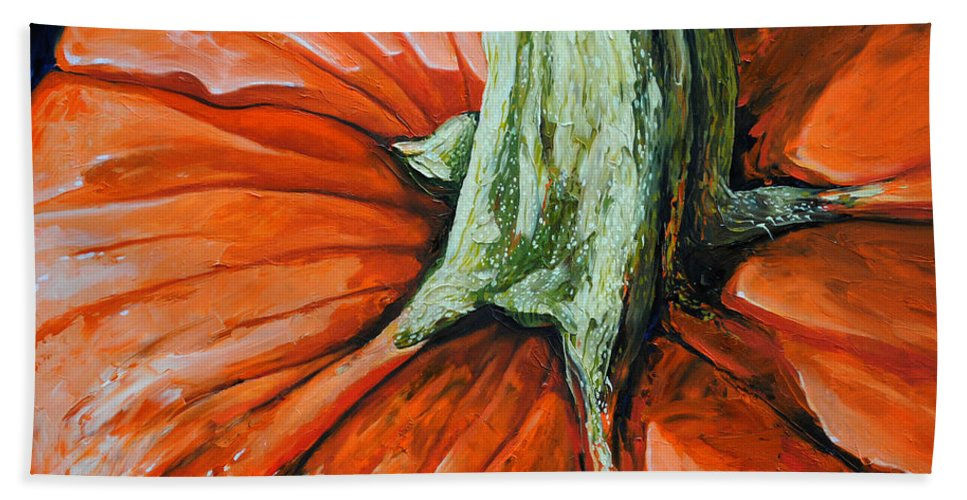 Pumpkin Bath Sheet featuring the painting Pumpkin3 by Chris Steinken