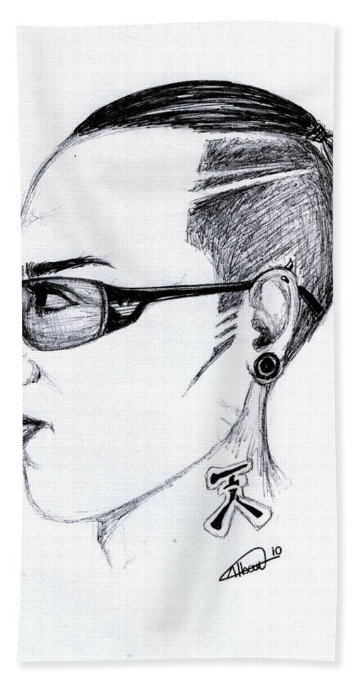 Portrait Bath Sheet featuring the drawing Punk Imaginative Portrait Drawing by Alban Dizdari