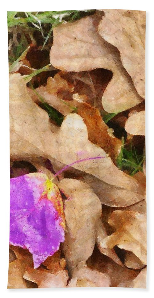 Purple Hand Towel featuring the painting Punk Leaf by Jeffrey Kolker