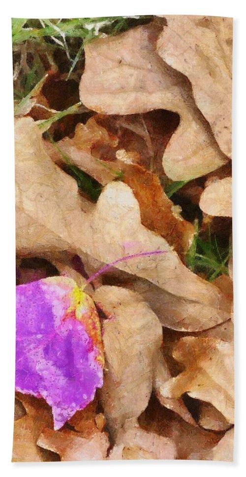 Purple Bath Sheet featuring the painting Punk Leaf by Jeffrey Kolker