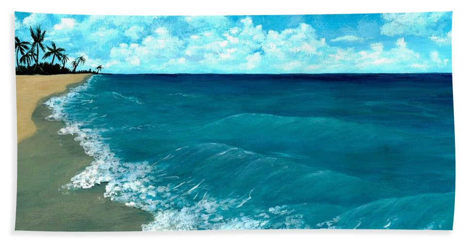 Blue Bath Towel featuring the painting Punta Cana Beach by Anastasiya Malakhova