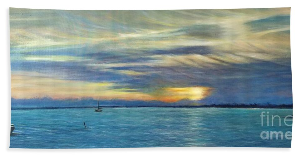 Landscape Hand Towel featuring the painting Punta Gorda Florida Art by Larry Palmer