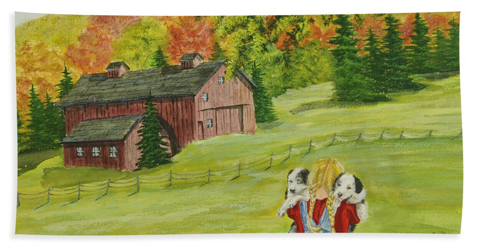 Country Kids Art Hand Towel featuring the painting Puppy Love by Charlotte Blanchard