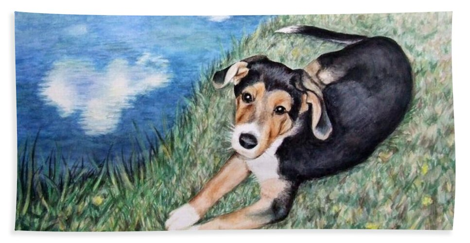 Dog Hand Towel featuring the painting Puppy Max by Nicole Zeug